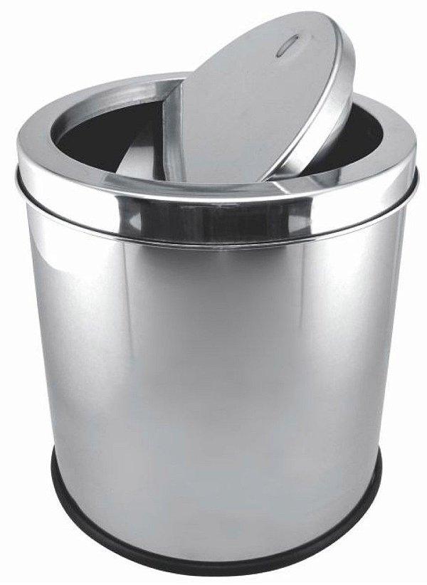 Lixeira com Tampa Basculante 12 litros em Inox Gp Inox