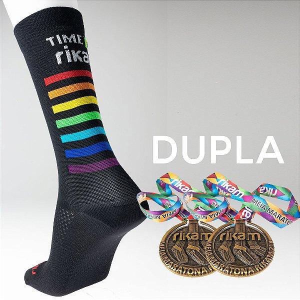 Kit Dupla Meia Maratona Rikam (2 Meias + 2 Medalhas)