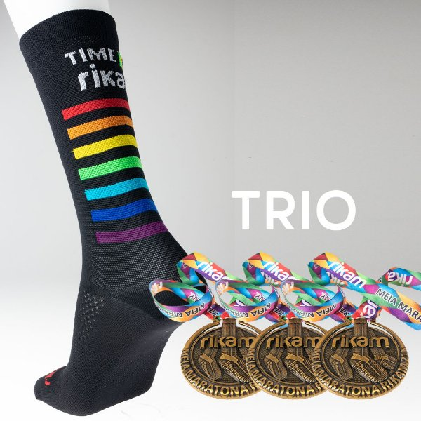 Kit Trio Meia Maratona Rikam (3 Meias + 3 Medalhas)