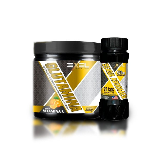 Combo Glutamina Com Vitamina C Exel  900g + Sekka Abdomen Exel 30 tabs