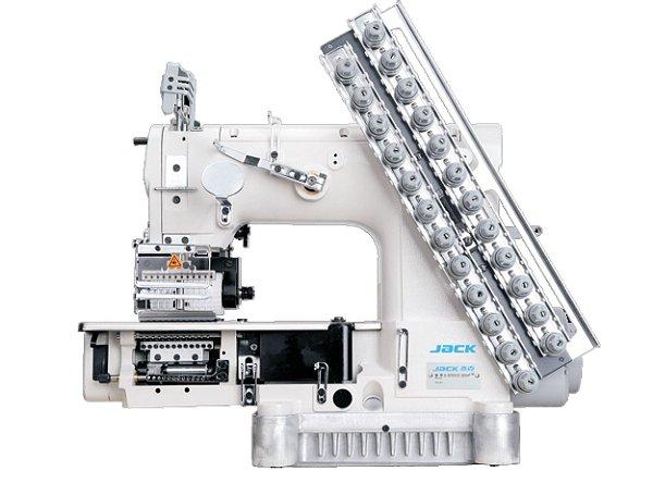 Máquina de Costura de 12 Agulhas 24 fios Jack tipo COZ AUTOMATICO COM SISTEMA DE SALTA PONTO E GUILHOTINA AUTOMATICOS JK-8009VCDI- 12064P/SP/SCA/PC/BR - 220 V