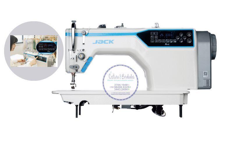Maquina Reta Eletronica Jack Lançadeira Grande Tamanho Ponto 7 mm JK-A4-CHL-7 - 220 V com Kit de Calcadores