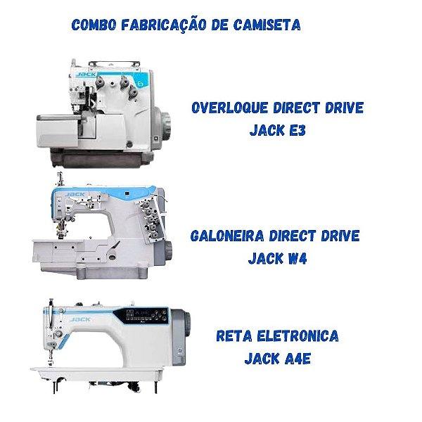 COMBO PARA FABRICAÇÃO DE CAMISETAS CONTENDO 1 OVERLOQUE DIRECT DRIVE JACK E3 + GALONEIRA DIRECT DRIVE JACK W4 + RETA ELETRONICA JACK A4E