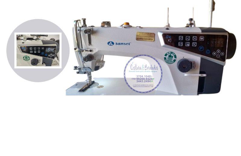MAQUINA DE COSTURA RETA ELETRONICA  SANSEI SA MQ4 -H 220 V COM KIT DE CALCADORES
