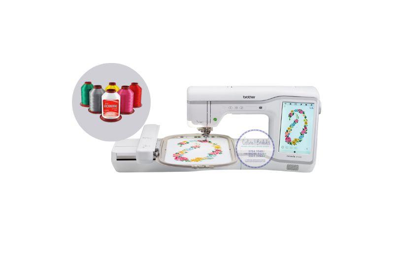 Maquina de Bordar Brother 3600 Lançamento + Kit com 30 linhas de bordar Ricamare