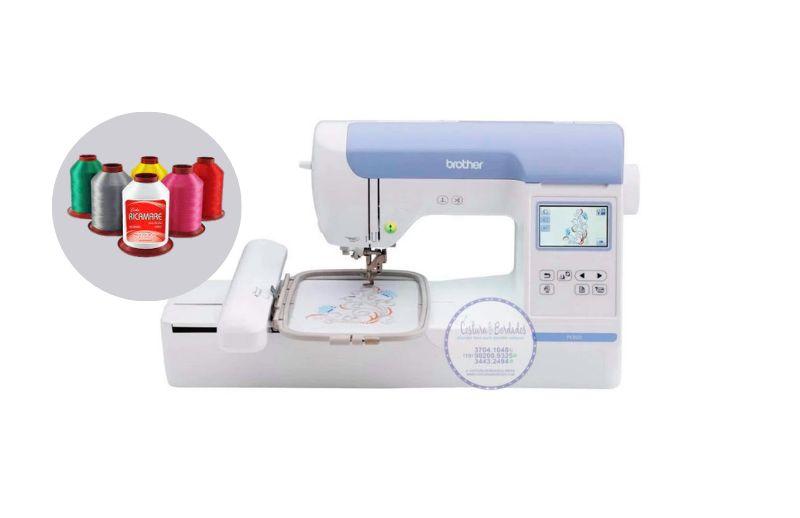 Máquina de Bordado Brother BE 815 L 13x18 Autovolt + Kit Inicial Empreendedor com 20 linhas Setta