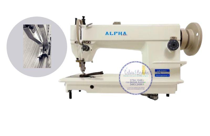 Máquina de Costura Reta Transporte Duplo 1 Agulha Para Tecidos Médios E Pesados com Transporte Superior e Inferior ALPHA LH-0302