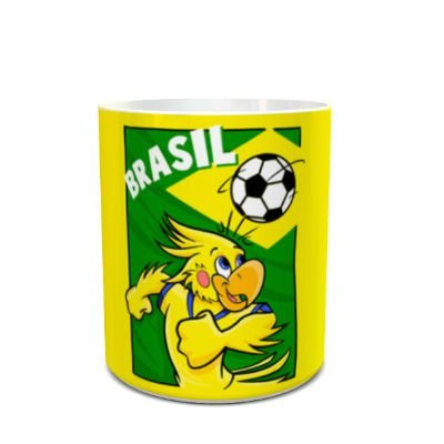 Caneca Bandeira do Brasil Mascote Cacá