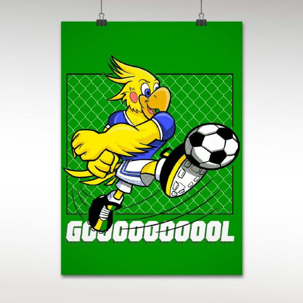 Postêr do Brasil Gol Mascote Caca