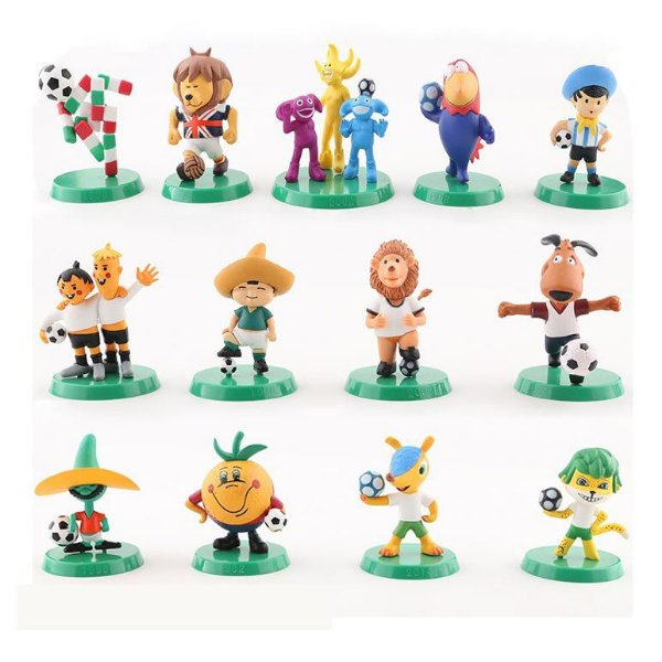Mascotes de Todas as Copas do Mundo de Futebol - Lote com 13 Personagens