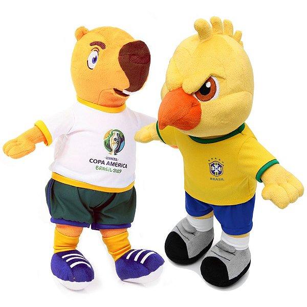 Pelúcia Mascote da Copa América 2019 Zizito + Mascote Canarinho Pelúcia 2019