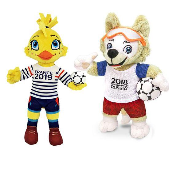 Mascote da Copa do Mundo Feminina 2019 Ettie Pelúcia + Zabivaka 25 cm