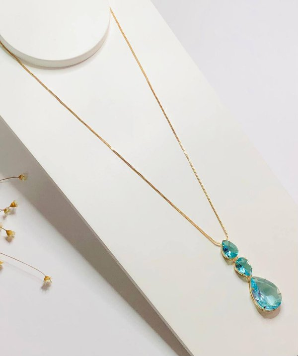 colar gotas de luxo acqua dourado