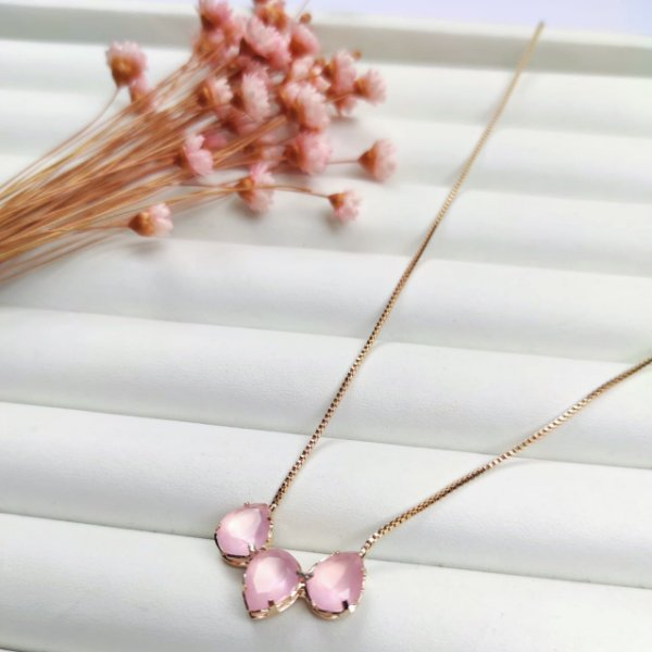 colar ana rosa dourado