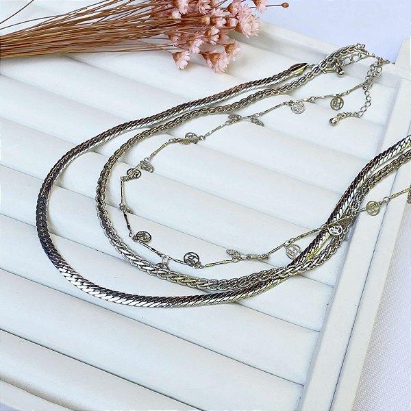 kit 3 peças pavanelli prata