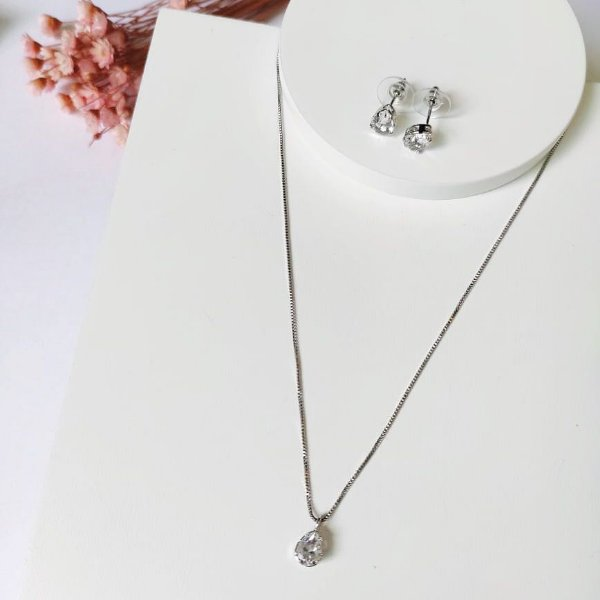 conjunto gota mini cristal prata