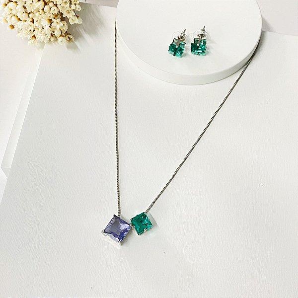 conjunto duplo quadrado verde e lilás prata
