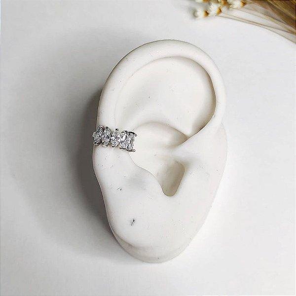 piercing de pressão pedras cristal prata