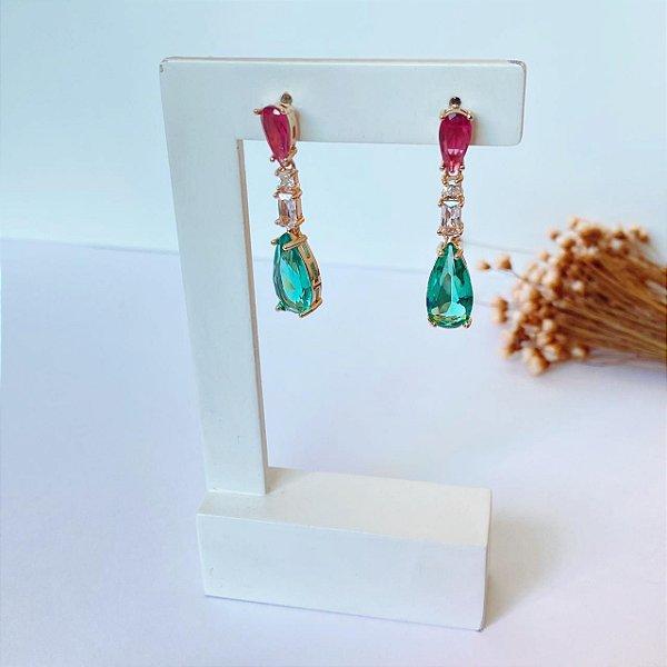 Brinco fest luxury gotas rubi cristal e turmalina dourado
