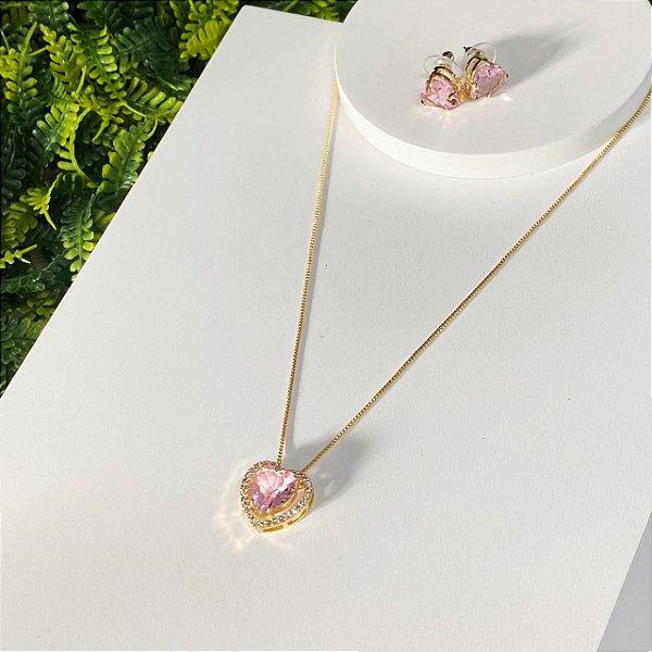 Conjunto coração zirconias cravejado rosa dourado