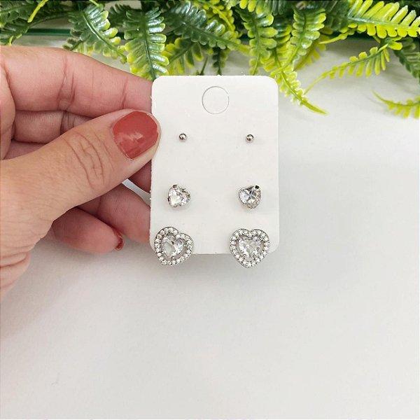 Kit de brincos coração cristal cravejado, coração Mini e bolinha prata