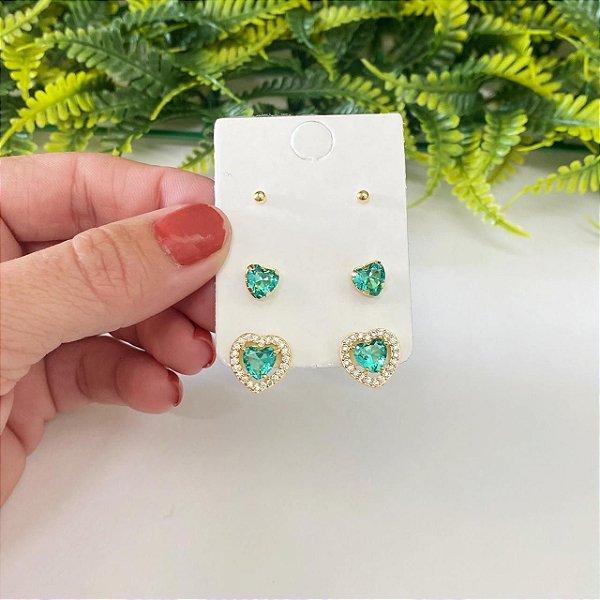 Kit de brincos coração esmeralda cravejado, coração Mini e bolinha dourado