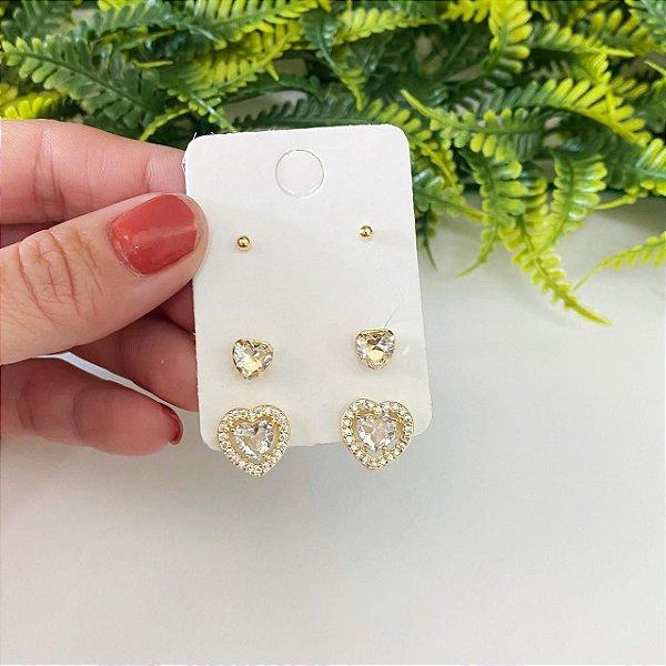 Kit de brincos coração cristal cravejado, coração Mini e bolinha dourada