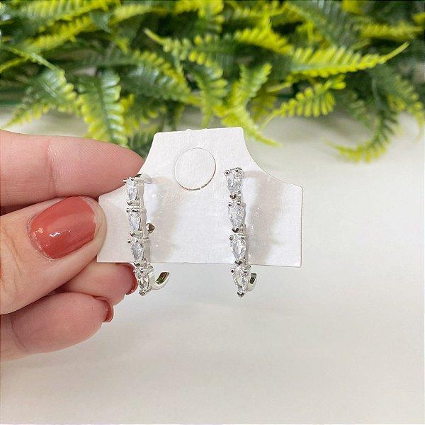 Ear hook Zirconias Cristal em gota prata