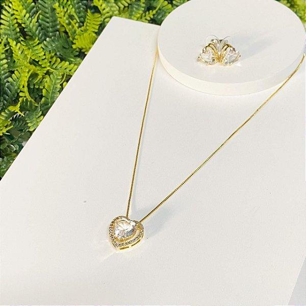 Conjunto coração zirconias cravejado cristal dourado