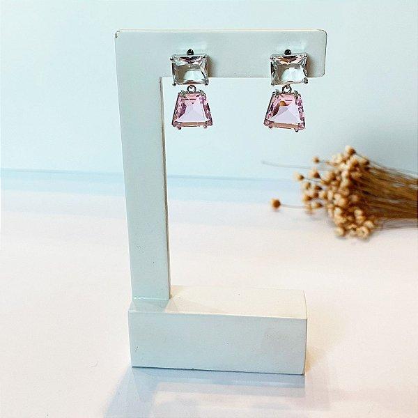 Brinco quadradinhos zircônia cristal e rosa prata