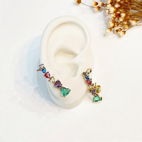 Brinco Ear Cuff colorido zircônias dourado