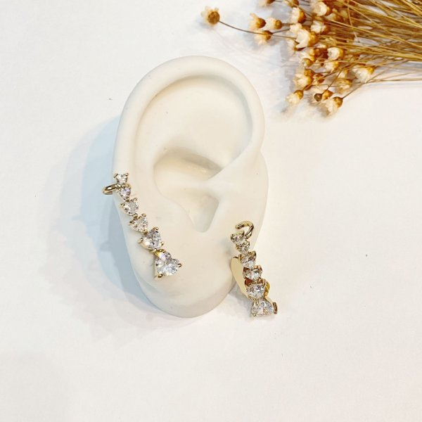 Brinco Ear Cuff cristal zircônias dourado