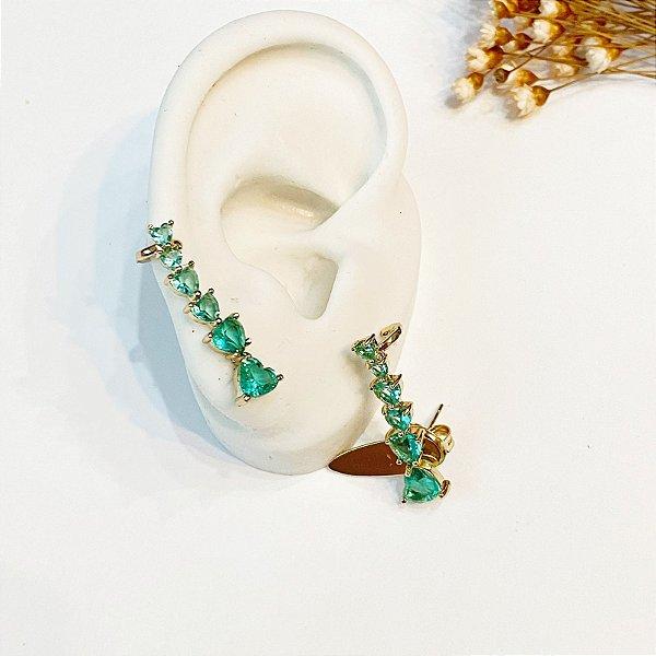Brinco Ear Cuff turmalina zircônias dourado