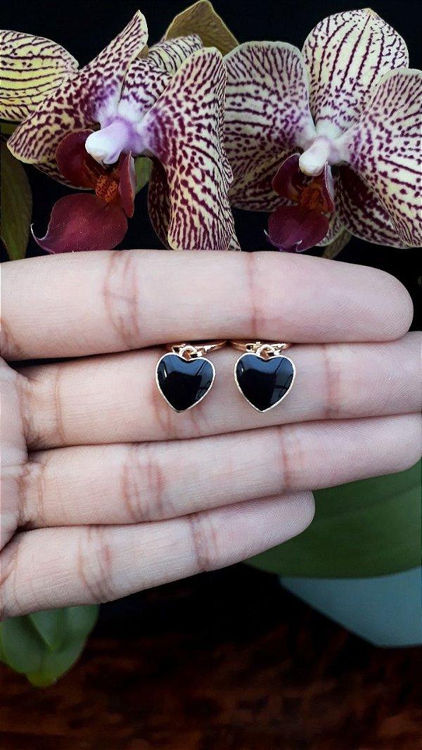Argola Mini Coração Gross Esmaltada Preto Dourado