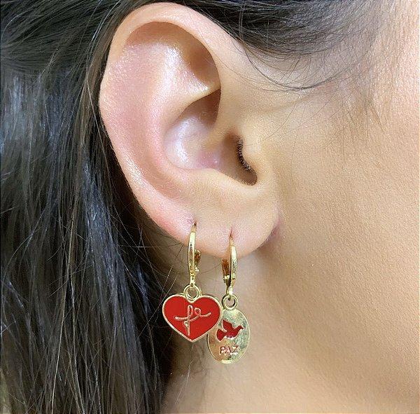 Argola Mini Coração Esmaltado Fé Vermelho Dourado