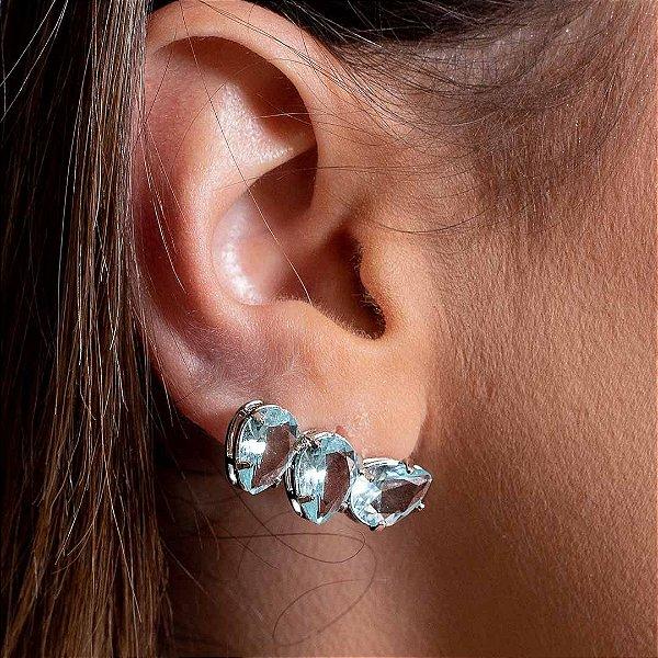 Ear Cuff Mini Gotas Acqua Prata