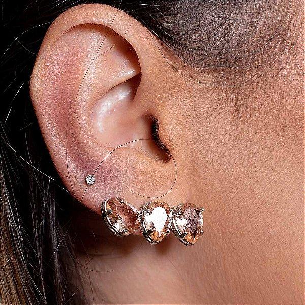 Ear Cuff Mini Gotas Pêssego Prata