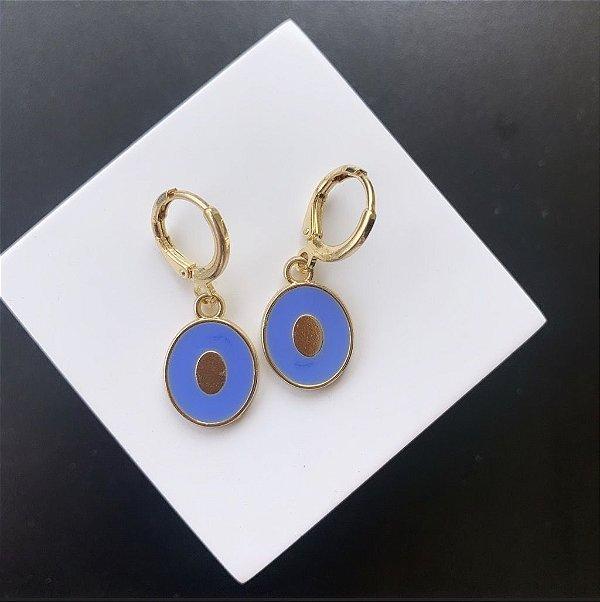 Argola Mini Oval Esmaltada Azul Serenity