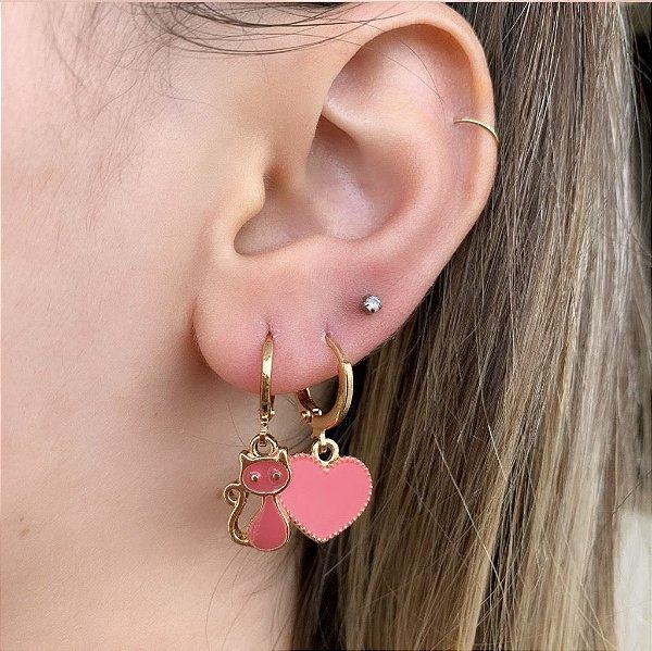 Argola Mini Coração Esmaltado Rosa Dourado