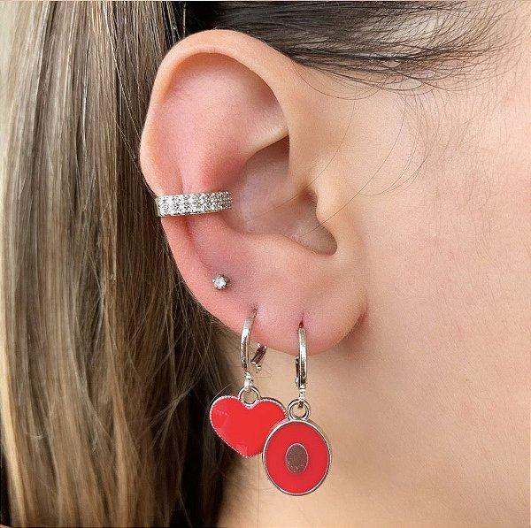 Argola Mini Coração Esmaltado Vermelho Prata