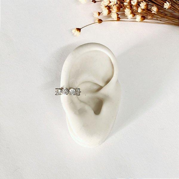 Piercing Pressão Bolinhas Cristal Prata