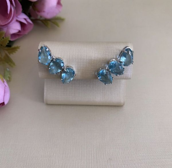Ear Cuff Mini Gotas Azul Prata