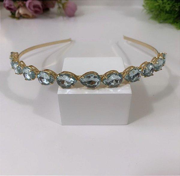 Tiara Gotinha Azul Transparente Dourada