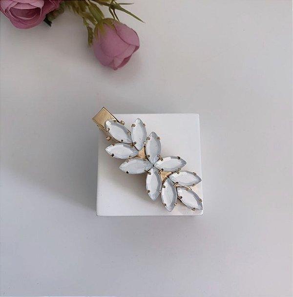 Presilha Folhas White Dourado