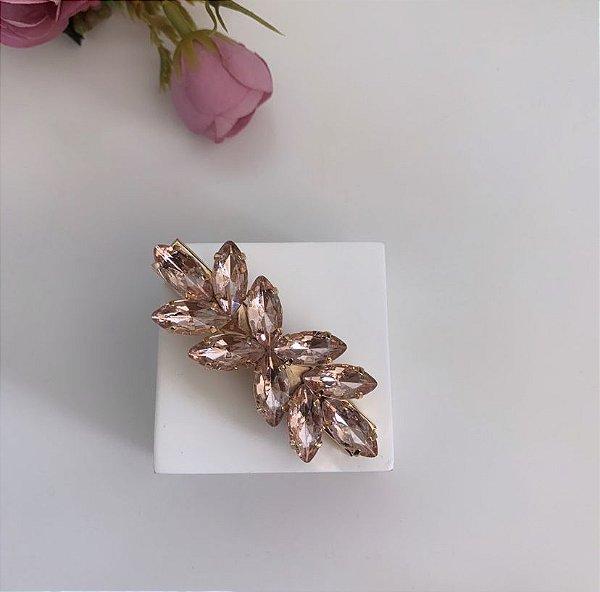 Presilha Folhas Rosa Nude Dourado