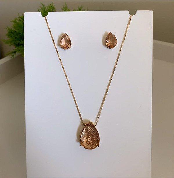 Conjunto Gota Cristalizada Pêssego Dourado