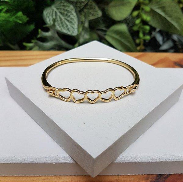 Bracelete Corações Dourado