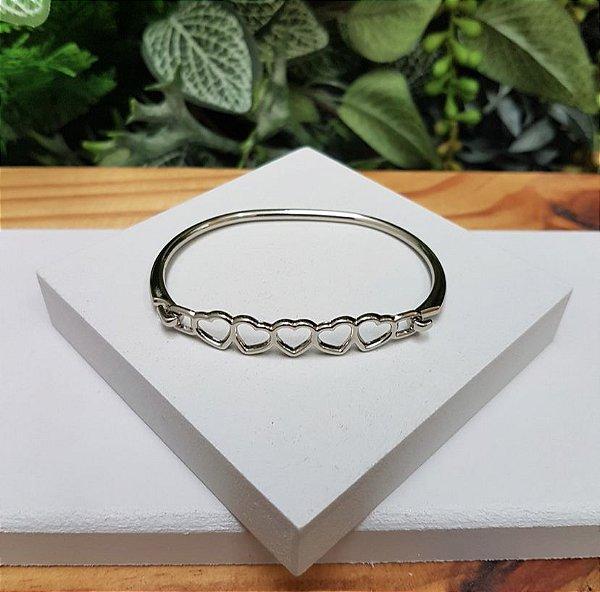 Bracelete Corações Prata