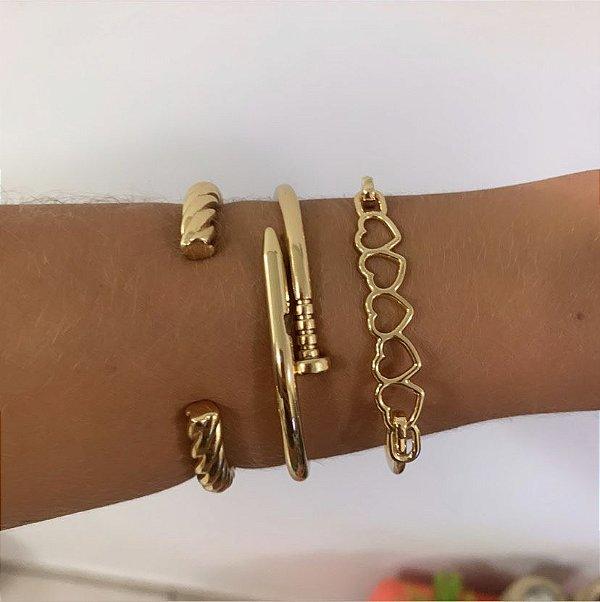 Bracelete Trançado Dourado