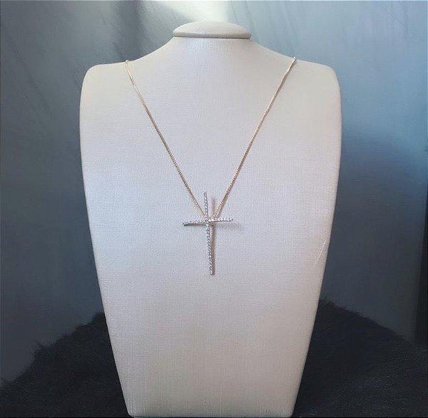 Crucifixo Cristal Dourado